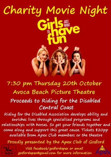 charity movie night girls just want to have fun avoca. Black Bedroom Furniture Sets. Home Design Ideas