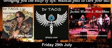 Dr Taos' Album Launch, Justine Wahlin & MiniRhino, Bronwyn